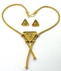 Fabulous 18K Greek Designer Necklace & Earrings Set
