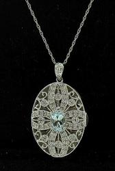 Elaborate Aquamarine & Diamond Locket Necklace