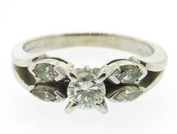 Vintage Style 5 Diamond Ring in 18K