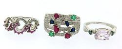 Three Fancy White Gold and Gemstone Rings