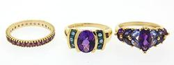 Lot of Purple Stone Rings in Yellow Gold