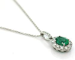 Gorgeous Classic Emerald & Diamond Halo Pendant, 18K