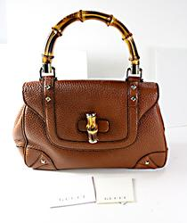 Gucci Brown Pebble Leather Handbag