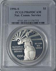 1996-S PR69 Nat. Com. Service Commem $, PCGS