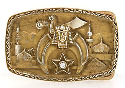 Shriners Emblem Belt Buckle with Diamond