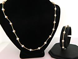 Excellent Pearl Station Necklace and Bracelet Set