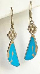 Fashionable 'Turquoise' & Sterling Pierced Earrings