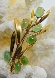 Exciting 18K Green Chrysoberyl Brooch