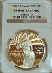 1996-S Nat. Community Service Silver Dollar. NGC PF69UC