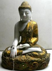RARE 19th Century Burmese Gold Leaf & Marble Buddha