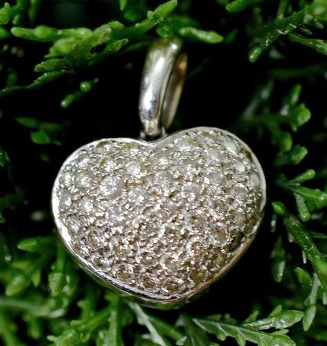 Exquisite 18K White Gold & Diamond Heart Pendant