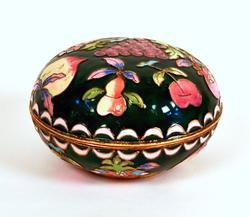 Beautiful Vintage Cloisonne Trinket Box, Fruit Pattern