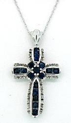Enchanting Diamond & Sapphire Cross Pendant Necklace