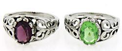 Gemstone Lot of 2 Sterling Silver Rings