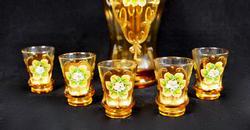 Vintage Italian Enameled Decanter & Cordial Glasses Set