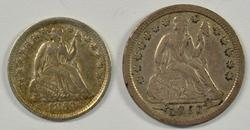 1853 with Arrows Seated Half Dime & Seated Dime