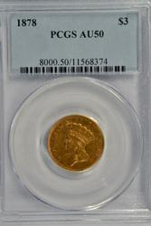 Rare Near Mint 1878 US $3 Gold Piece. PCGS AU50