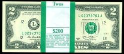 Gem CU Pack of 100 Series 2013 $2 Bills in Sequence (L)