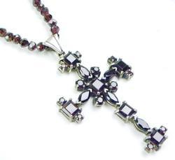 Big Sterling Garnet Cross & Long Garnet Chain