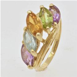 Multi Gem Ring in Gold, Peridot, Amethyst, Topaz