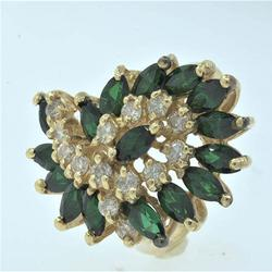 Diamond and Tsavorite Cluster Ring