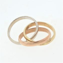 Tri Gold Trinity Ring, 14KT