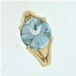 3.5 CT Modified Round Cut Blue Topaz Ring
