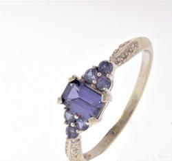 Violet Lab Created Sapphire Ring in White Gold