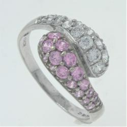 Vibrant White Gold Crossover Ring with CZ Shimmer