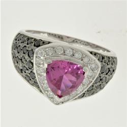 Bold Trillion Cut 2 CT Pink Sapphire Ring
