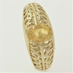 Lovely Pierced Gold Ring with Yellow Crystal Gem