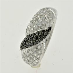 Formal Black and White CZ Ring in White Gold
