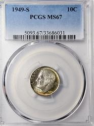 1949-S MS67 Roosevelt Dime PCGS