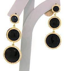 Ippolita Lollipop Onyx & Diamond Dangle Earrings in 18K