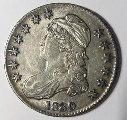 1830  Lightly Toned  Near Unc Bust Half Dollar