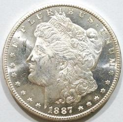 Exceptional BU 1887 S Mint Morgan Silver Dollar-PL Obverse!