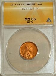 1947-S/S Lincoln Cent ANACS MS65RED