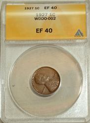 1927 DDO Lincoln Wheat Cent ANACS EF40