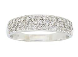 14K White Gold Three row Diamond Band