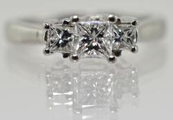 Platinum 3 Princess Cut Diamond Ring