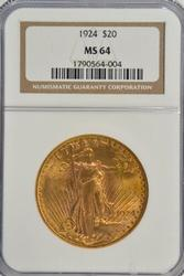 Virtual Gem BU 1924 St. Gaudens $20 Gold Piece NGC MS64