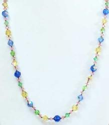 Beautiful, Multi Colored, Faceted, Glass Crystals Beaded Necklace