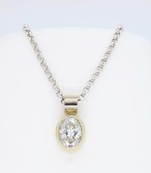 14K Gold Oval Cut Diamond Necklace