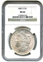 1885-O MS64 Morgan Silver Dollar, NGC