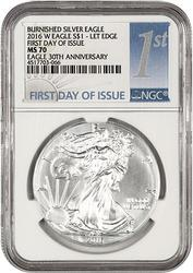 2016-W First Day MS70 30th Anniv Silver Eagle NGC