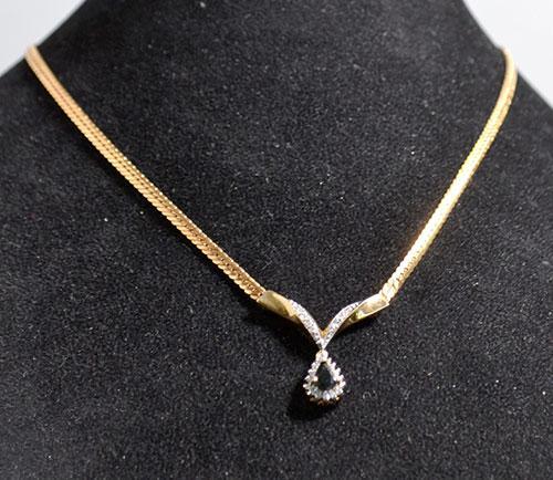 14kt gold blue sapphire diamond pendant necklace 14kt gold blue sapphire diamond pendant necklace aloadofball Images