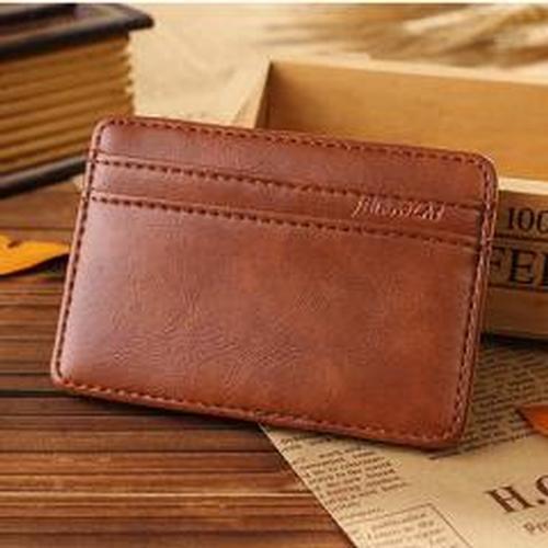 Luxury Mini Neutral Magic Bifold Leather Wallet Card Holder Wallet Purse