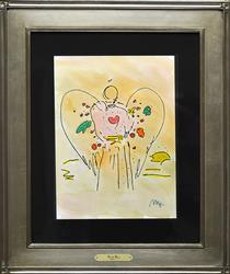 Oginal Peter Max Mixed Media, Angel With Heart