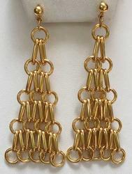 Enchanting, Long 'Triangular' Gold Toned 'Multi Chain' Earrings