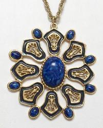 Fabulous, Large, Blue Marbled & Enamel 'Medallion' Necklace